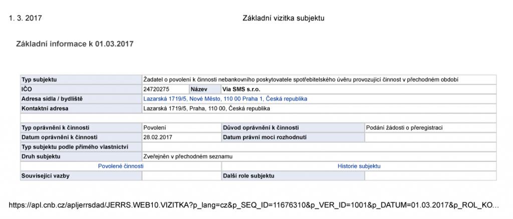 Registrace u ČNB